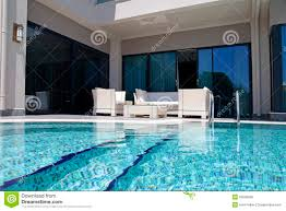 White Outdoor Furniture Swimming Pool With White Outdoor Furniture On Modern Luxury Reso