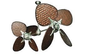 twin star ii ceiling fan twin star ii brushed steel tropical dual ceiling fan with 46 dark