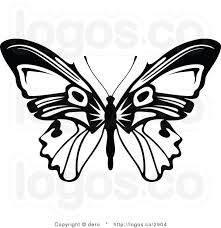 vector royalty free clipart black and white butterfly logo by dero