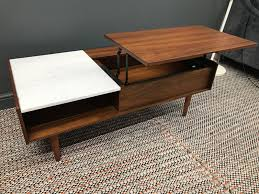 Pop Up Coffee Table Furniture Mid Century Walnut Wood Pop Up Coffee Table With
