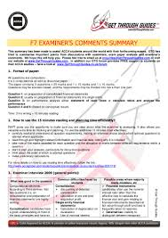 acca f7 examiner comments summary