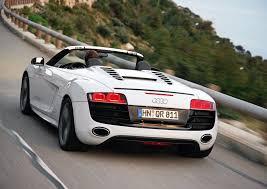 Audi R8 White - audi r8 spyder 5 2 fsi quattro ibis white rear eurocar news
