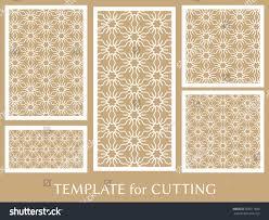 laser cut wood invitations decorative panels set laser cutting geometric stock vector