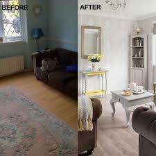 before and after paint and wallpaper have transformed this living