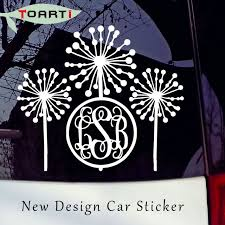 monogram decals dandelions initials sticker decal car bumper window
