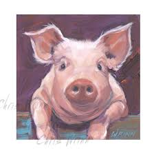 pig painting cute pig painting on a 5x5 by gallerymusings on zibbet