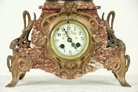 Mantel Clocks Antique French Antique 1900 Marble Mantel Clock Daisy Sculpture Signed