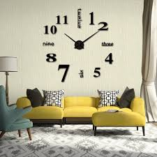 Home Decor Wall Clock Amazon Com Hippih Modern 3d Frameless Large Wall Clock Style