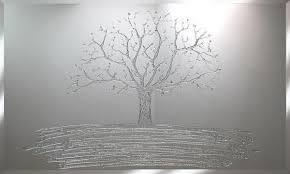 silver glitter swarovski tree liquid glass wall mirror