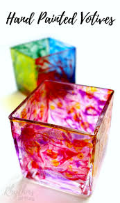 diy hand painted votives gift idea rhythms of play