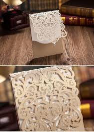 laser cut hollow customized wedding party invitation cards gold