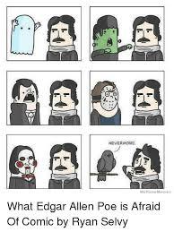 Edgar Allen Poe Meme - nevermore we know memes what edgar allen poe is afraid of comic by