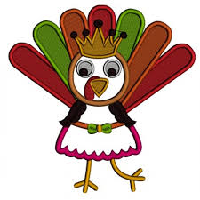 turkey with a crown and waering skirt thanksgiving applique