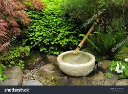 rock bowl bamboo tube japanese garden stock photo 104346710
