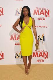 Celebrity Clothing For Men Keke Palmer Plunging V Neck Yellow Short Prom Dress Think