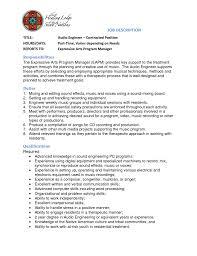 Creative Engineering Resume Sound Engineer Resume Cbshow Co