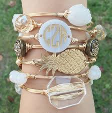 monogrammed bracelets circle font monogram disc wire bangle monogram bracelet