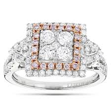 unique engagement rings for women unique engagement rings white pink diamond cluster ring 14k gold