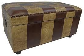 Trunk Ottoman International Caravan Faux Leather Bench Trunk In Mix