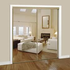 Slimfold Closet Doors Slimfold 72 X 80 Silver Steel Framed Bypass Mirror Door At