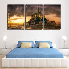 online get cheap french canvas prints aliexpress com alibaba group unframed 3 piece french castle wall art picture modern painting canvas home decor living room canvas
