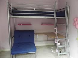 furniture metal full size loft bunk bed with wooden corner desk