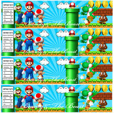 Super Mario Decorations Super Mario Personalized Bottle Water Labels Party Wrappers