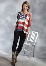 Model American Flag Roper Women U0027s Off White American Flag Scoop Neck Western Top