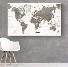 Push Pin Map Canvas World Map With 60 Push Pin Flags Map World Black