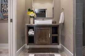 bath vanity ideas shelves installed above toilet white tile walls