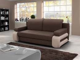 brown fabric and cream faux leather base sofabed european