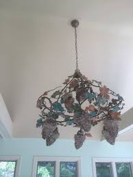 Grapevine Chandelier Grapevine Glass And Painted Metal Chandelier Antique Appraisal