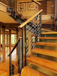 Metal Stair Banister Stair Railing Ideas Staircase Contemporary With Knotty Pine Metal