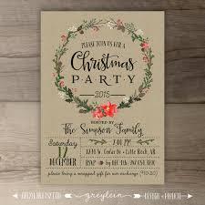 christmas party invitations u2022 wreath u2022 kraft u2022 custom holiday