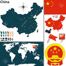 China On World Map by Vector Map Of China With Regions Coat Of Arms And Location On