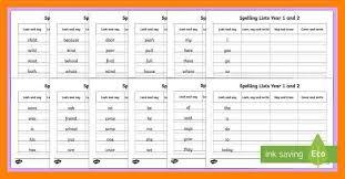9 spelling words for year 1 cv for teaching