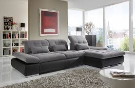 Fabric Sectional Sofa Alpine Sectional Sofa In Grey Fabric And Black Leather Right Chaise