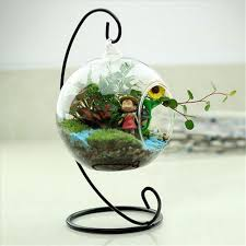 2017 new clear glass round with 1 hole flower plant hanging