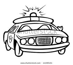 cartoon vector illustration police car coloring stock vector