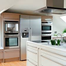 Microwave In Island In Kitchen Kitchen Appliances The Large Fridge Freezer Is Flanked By Two