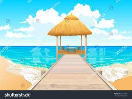 bridge over water bungalows stock vector 106174550 shutterstock