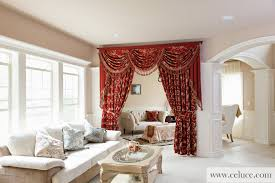Living Room Curtains With Valance by Louis Xvi Royal Red Classic Overlapping Style Chenille