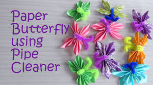 paper butterfly using pipe cleaner tutorial kids craft youtube