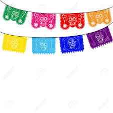 Mexico Flags Mexico Multicolored Template With Hanging Traditional Mexican