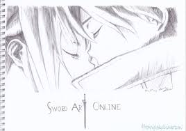 kirito and asuna sword art online pencil sketch by
