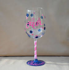 wine glass with initials the bybecca talk painted glass and color personalized