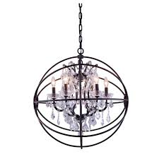 elegant lighting geneva 6 light dark bronze chandelier with clear