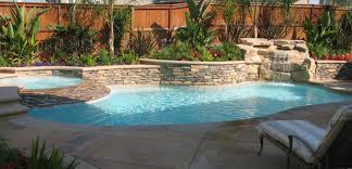 custom swimming pool with sun shelf and raised spa home