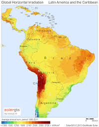 Latin America Map average daily solar insolation sun hours map caribbean central