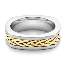 mens two tone wedding band men s braided two tone wedding band 100121